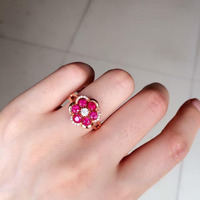 2017 Qi Xuan_Fashion Jewelry_Red Stone простые элегантные женские кольца _ розовое золото цвет модные красные кольца _ производитель прямые продажи