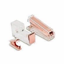 Акриловый степлер из розового золота 1) инструмент для удаления степлера 1) диспенсер для ленты акриловая настольная канцелярская серия