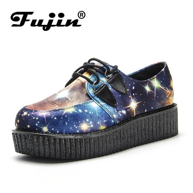 b63ac5b68c2d Fujin БРЕНД Звездное небо криперы женская обувь на плоской подошве мокаcины  на платформе женская повседневная обувь