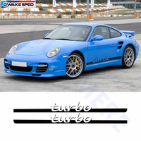 For Porsche 911 Turbo Styling Door Side Skirt Stripes Decal Auto Body Decor Sticker Car Exterior Accessories Modification Decals