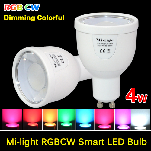 Milight 2.4G GU10 4W Wireless Colorful LED RGBCW (RGB+COOL WHITE) RGBWW (RGB+WARM WHITE) LED Smart Bulb Lamp