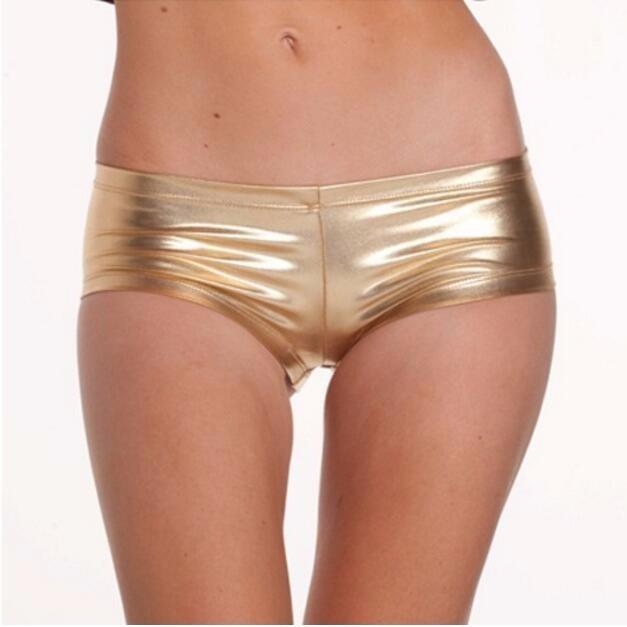 Women Dancing Club  Short Metallic  Spandex Lycra Shorts Sexy girls boxer Super mini shorts