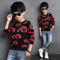 Kintted Toddler Boys Autumn Style Casual Cotton O-neck Long Sleeve Fashion Solid Color with Flowers Printing Pullover Sweaters