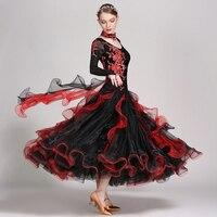 Ballroom Dance Dresses For Women Long Sleeve Stage Tango Waltz Dancing Costume Lady S Cheap Standard