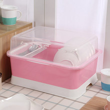 Large kitchen cupboard plastic drain rack dish with lid bowling table dishware cutlery storage box