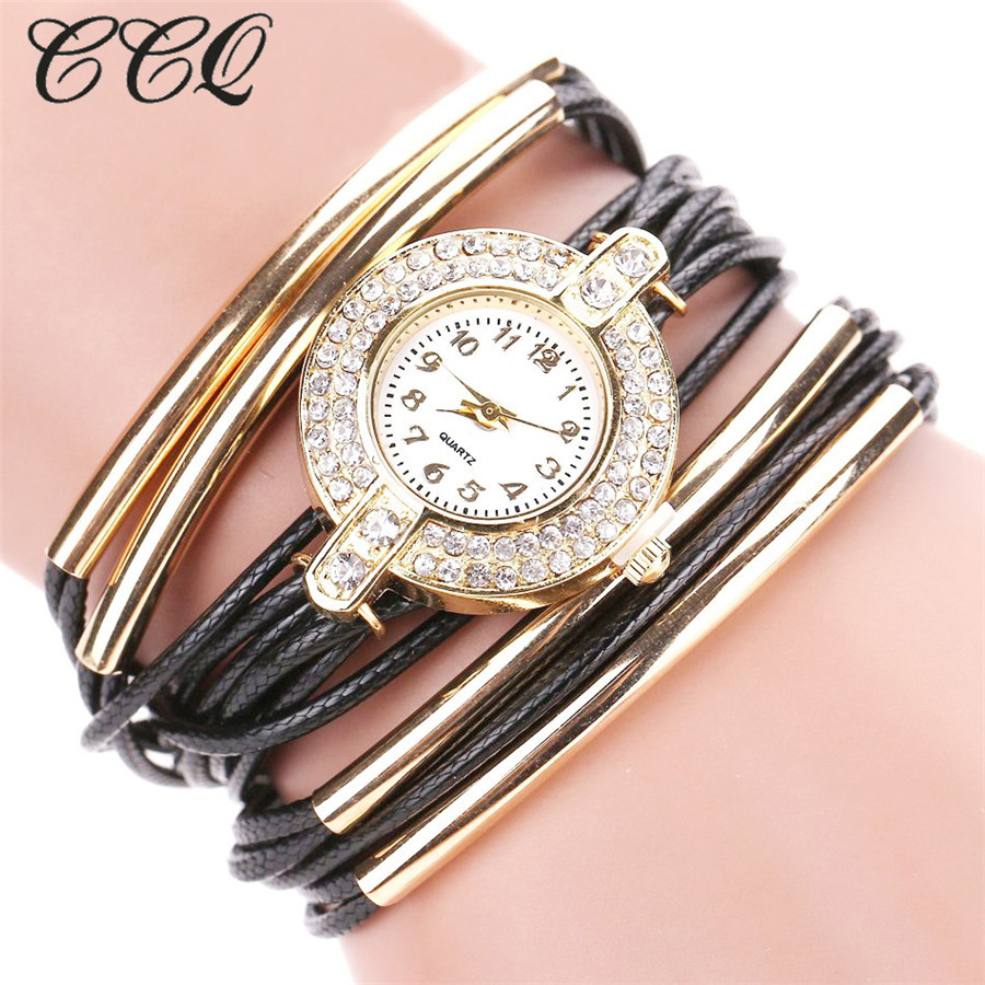 5c220cce027f CCQ moda rhinestone joyas de oro pulsera de cuero reloj mujeres vestido  reloj casual analógico cuarzo reloj Relogio C52
