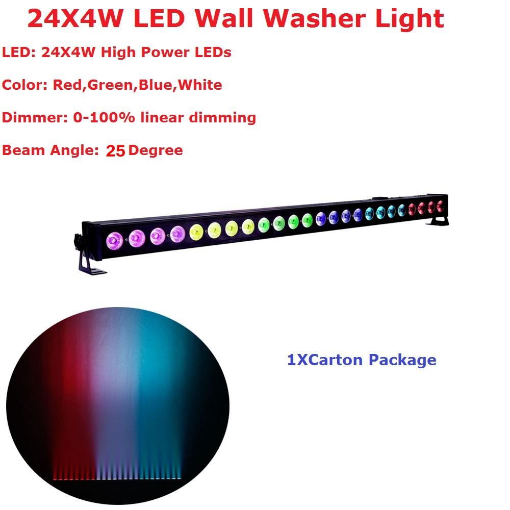 High Quality 24X4W Indoor Led Wall Washer Lights RGBW Led Bar Music Light DMX 512,LED DJ Party Disco Stage Light Decorate Lamp