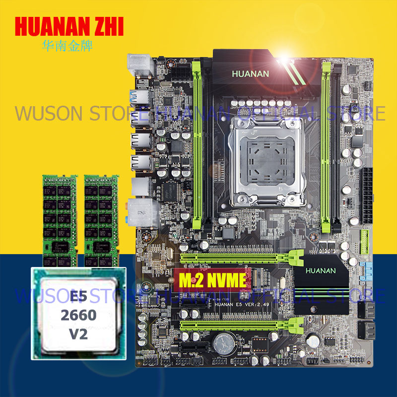HUANAN ZHI motherboard bundle X79 LGA2011 motherboard with M.2 slot CPU Xeon E5 2660 V2 SR1AB 2.2GHz RAM 8G(2*4G) DDR3 REG ECC ballin ballin