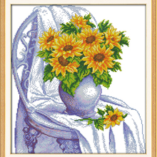 The chair with sunflowers cross stitch kits Cotton 14ct whit