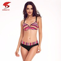 JABERNI Bikini 2016 Push Up Sexy Swimwear Halter Top Bottom Women Swimsuit Bikini Shorts Beach