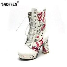 TAOFFEN Mujeres Zapatos Mujer Botas Lace Up de Tacón Cuadrado tacones Estampado de Flores Con la Piel Nuevo Diseño de Tamaño de Calzado de Moda 33-43