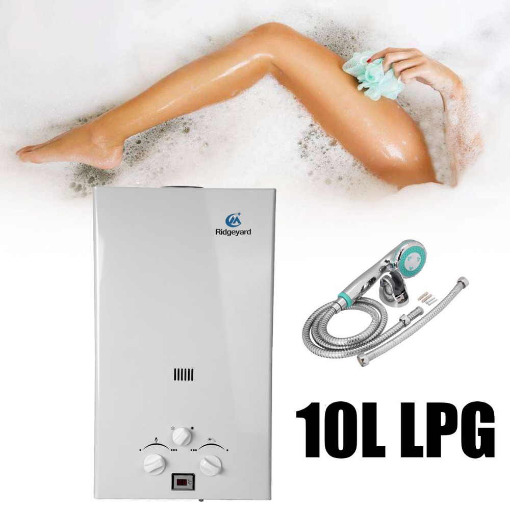 (Ship from Germany) 10L LPG Propane Gas Household Tankless Boiler Instant Hot Water Heater LCD Display with Shower Head