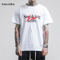 t shirt man's fashion high streete printed T-shirt Hip Hop Style Tops 2017 summer brand clothing Amezaiku