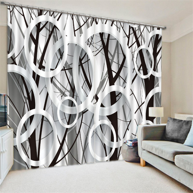 Black White Circle Blackout Curtains For Bedding Room Living D Cortinas Para Sala Tapestry