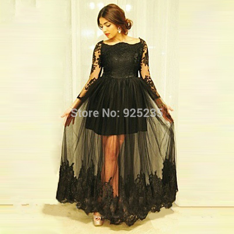 Sexy Black Long Sleeve Evening Dresses 2017 Tulle See Through Plus ... 61659768ecce