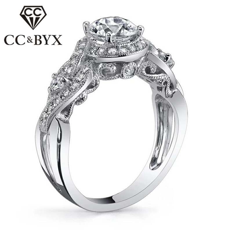 CC Hyperbole Vintage Rings For Women Luxury Bride Wedding Anillos Mujer Engagement Ring Fashion Jewelry Womens Accessories CC748