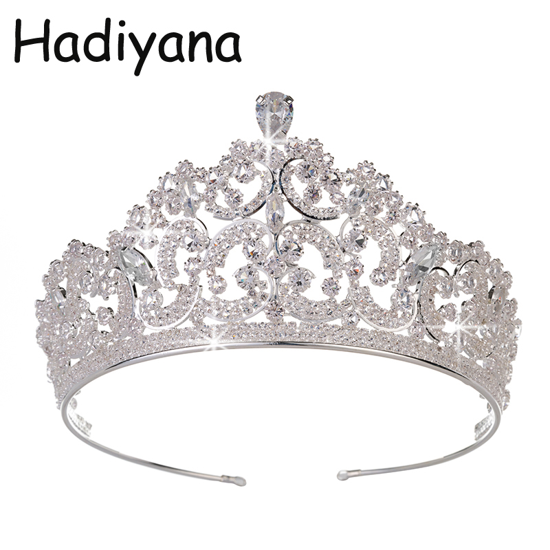 Hadiyana Fashion Hot Copper Cubic Zirconia Crown Wedding Headdress Tiaras CZ Hotsale Bride Princess Beauty Party