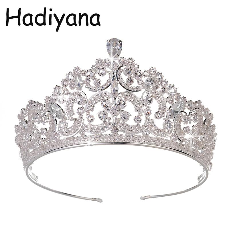 Hadiyana Fashion Hot Copper Zirconia Kroon Bruiloft Hoofdtooi Tiara CZ Hotsale Bruid Prinses Beauty Party Kronen HG6056-in Haarsieraden van Sieraden & accessoires op  Groep 1