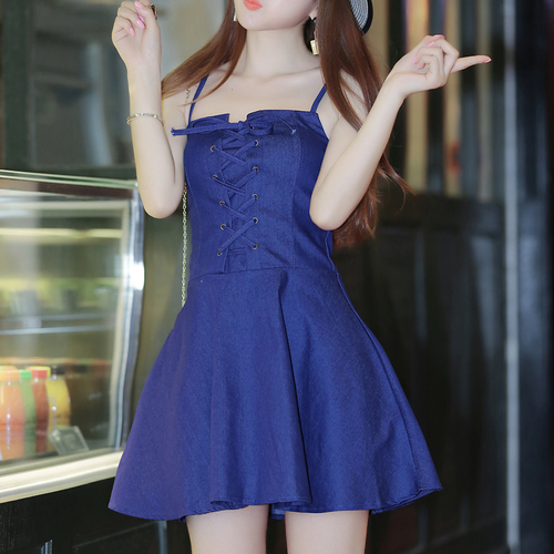 2017 Denim Dress Summer Bandage Tunic Blue Jeans Short Dress Womens Sexy Dresses Party Night Club Dress vestidos 1281