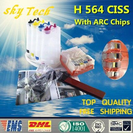 Empty CISS suit for HP564XL , HP 564 CISS suit for HP D5460 D5463 D5468 C5324 C5370 C5373 C5380 etc , With ARC Chips