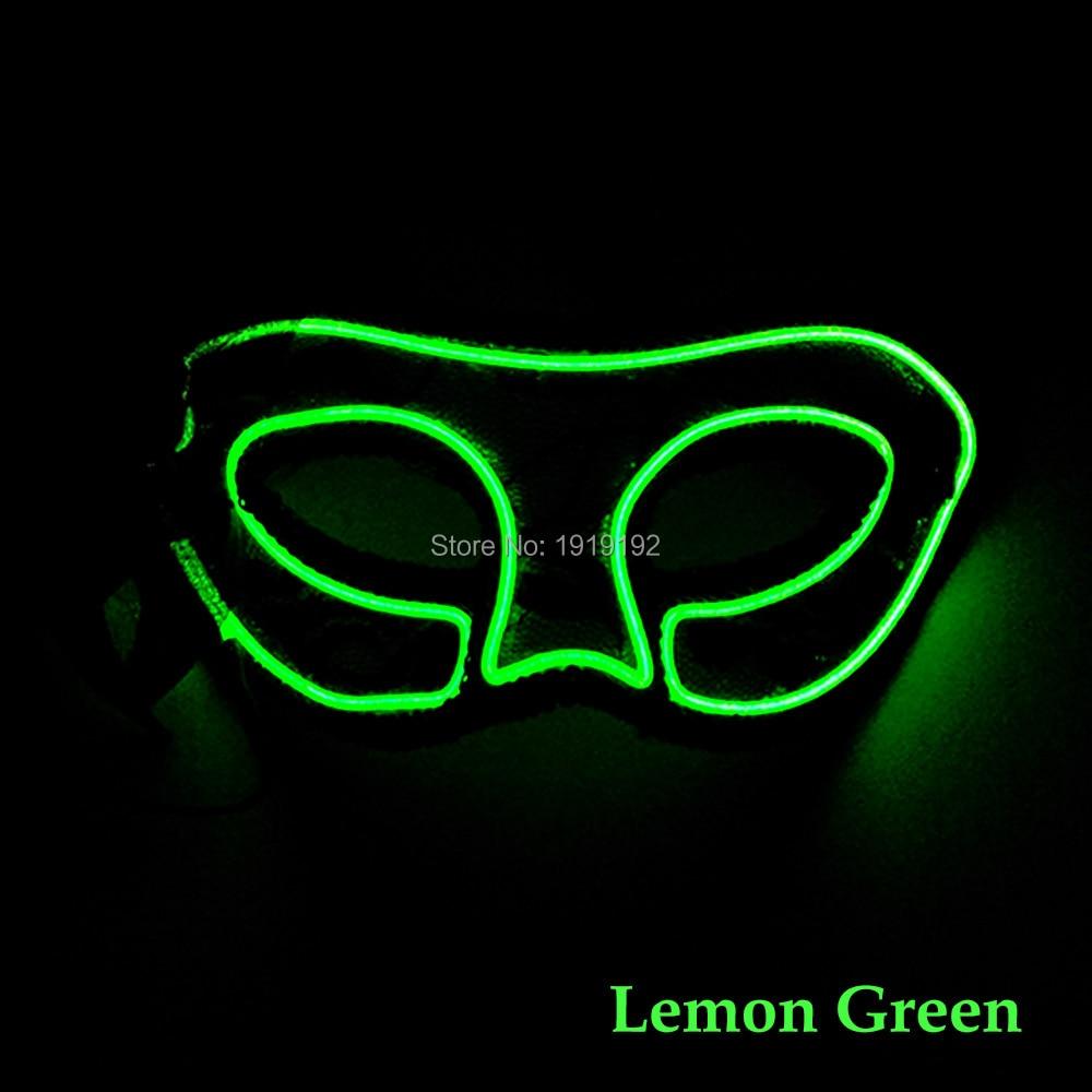 Wholesale 10 pcs Flash Party mask Women mask 10 Color Select LED EL Mask For Bar Fluorescent Dance halloween decoration