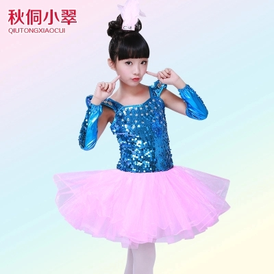 Free ship children girls sky blue sequined pink tutu latin dance dress luxury dance fairy stage performance dress