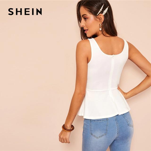 SHEIN Sexy White Zip Back Sweetheart Neck Peplum Tank Top Women Summer Slim Fitted Solid 2019 Elegant High Street Vests 1