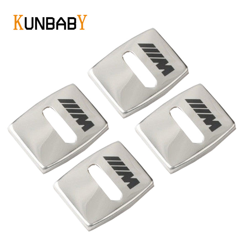 KUNBABY Car Styling 4pcs Car Emblem Stainless Door Lock Protective Cover Buckle For BMW 1 3 5 7 Series X1 X3 X4 X5 Accessories for mazda cx 5 cx5 2nd gen 2017 2018 car styling black interior accessories door lock cover car door buckle cover 4pcs
