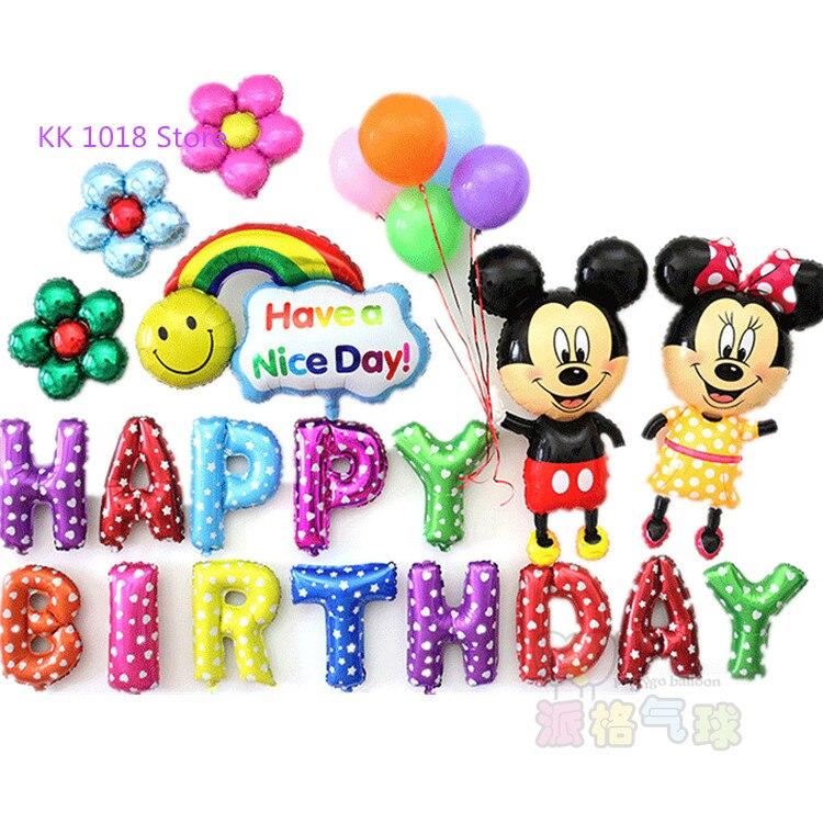 24pcs Cartoon Mickey Minnie foil balloons Happy birthday letter balloon baby birthday party decor helium globos kids toys gift