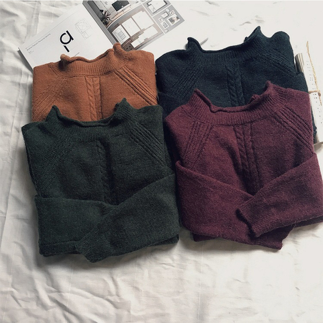 Women loose pullover sweater long sleeve winter casual warm tops Hem split Short paragraph solid color knit sweater women
