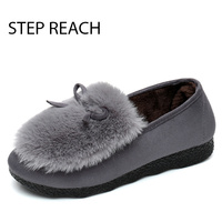 STEPREACH Brand Shoes Woman Boots Snow Flats Round Toe Short Plush Comfortable Slip On Ankle Boots