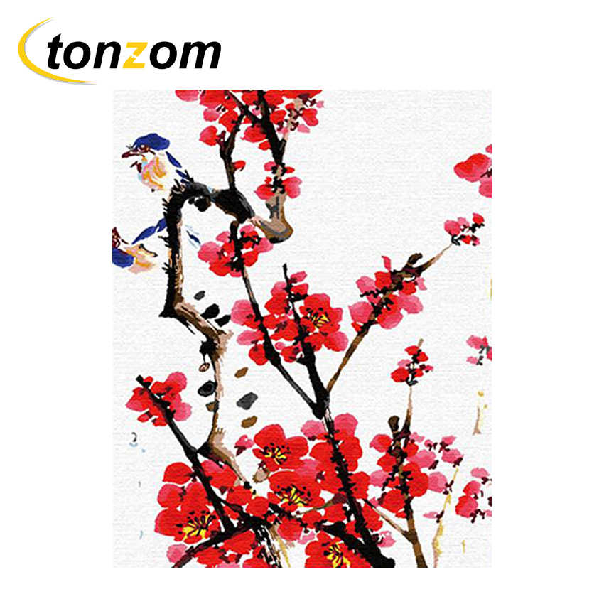 225 & RIHE Plum Blossom Drawing By Numbers Erect Flower Vase DIY Painting Handwork On Canvas Oil Painting Art Coloring For Home 2018