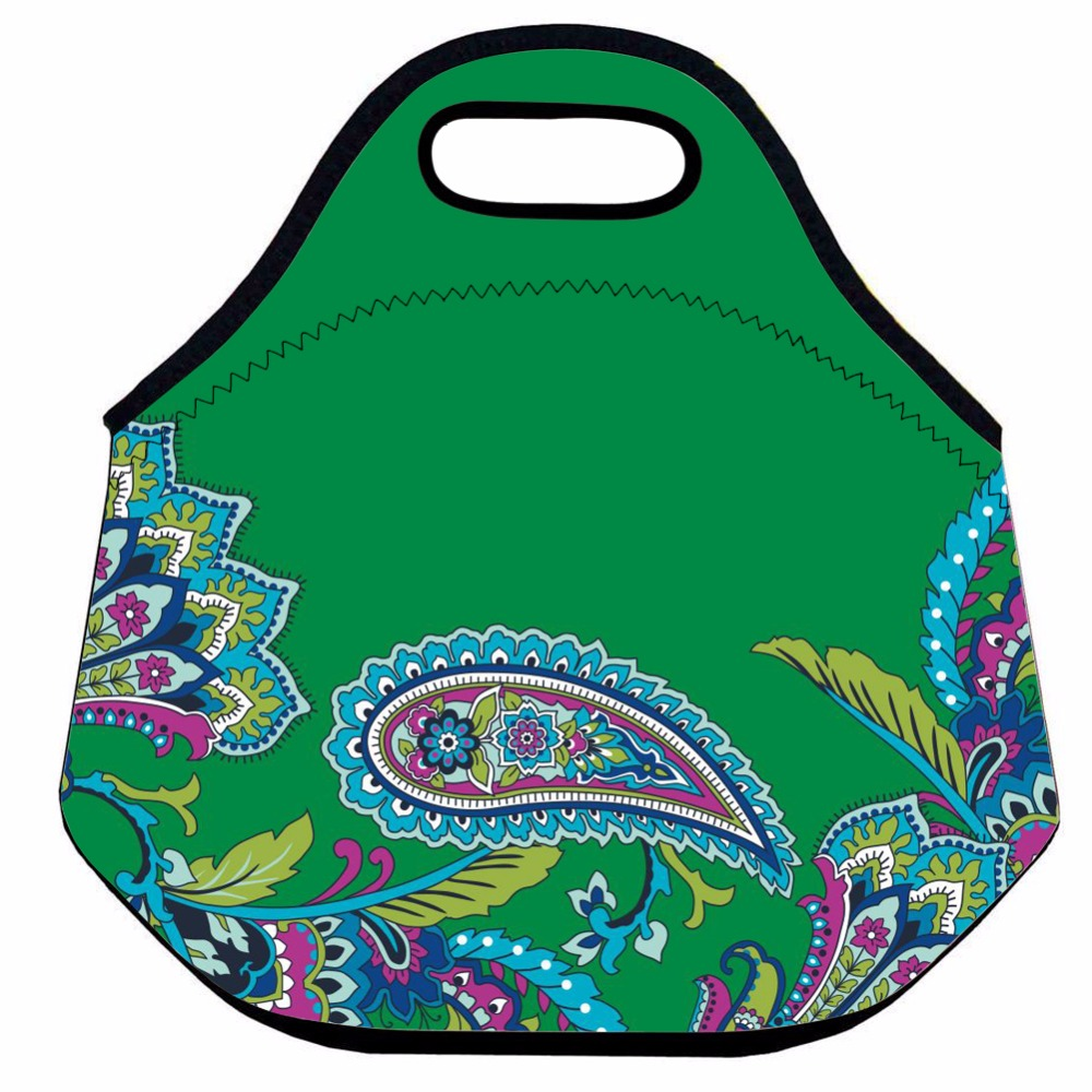 Paisley Neoprene Lunch Bag for Women,Kids Thermal Lunch Bag ,Green Insulated Lunch Bag,School Picnic Box Bag,Food Lunch Tote