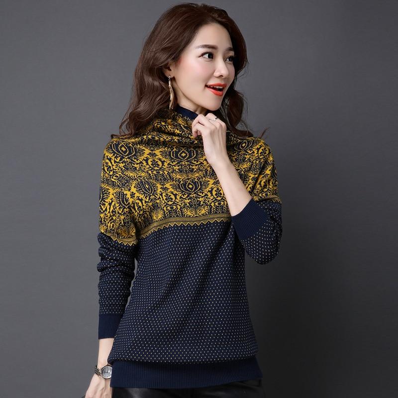 2017 Frühling Koreanische Frauen Gestrickte Rollkragen Pullover Pullover Frauen Jacquard Blumenmuster Pullover Femme Tricot Pull Jumper