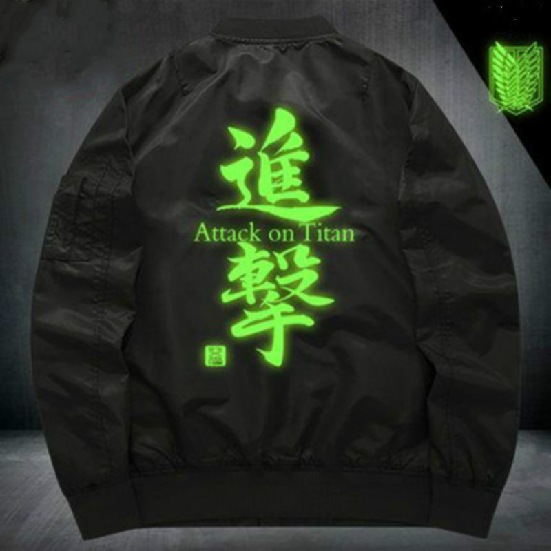 New Arrival Anime Attack on Titan Survey Corps Cosplay Costume Noctilucent Coats Zipper Jackets Hip-Hop Flying Jacket Costume