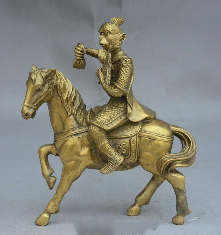8 Chinese Feng Shui Brass Wealth Fu Monkey King Sun WuKong Ride Horse Statue8 Chinese Feng Shui Brass Wealth Fu Monkey King Sun WuKong Ride Horse Statue