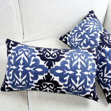 Embroidery Cushion Cover Ethnic Blue Floral Pillow Case For Sofa Seat Simple Home Decorative Rectangle 30