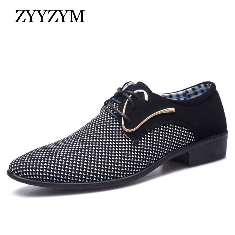 ZYYZYM Men Casual Shoes New Fashion Trend Lace-up Tip Style Dress Shoes Formal For Man Plus Size 38-48