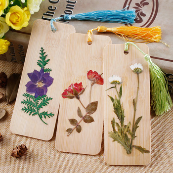 Handmade Ancient Dried Flowers Bookmark  Flowers  Bamboo Bookmarks  DIY Artware as Gift Collection wallet