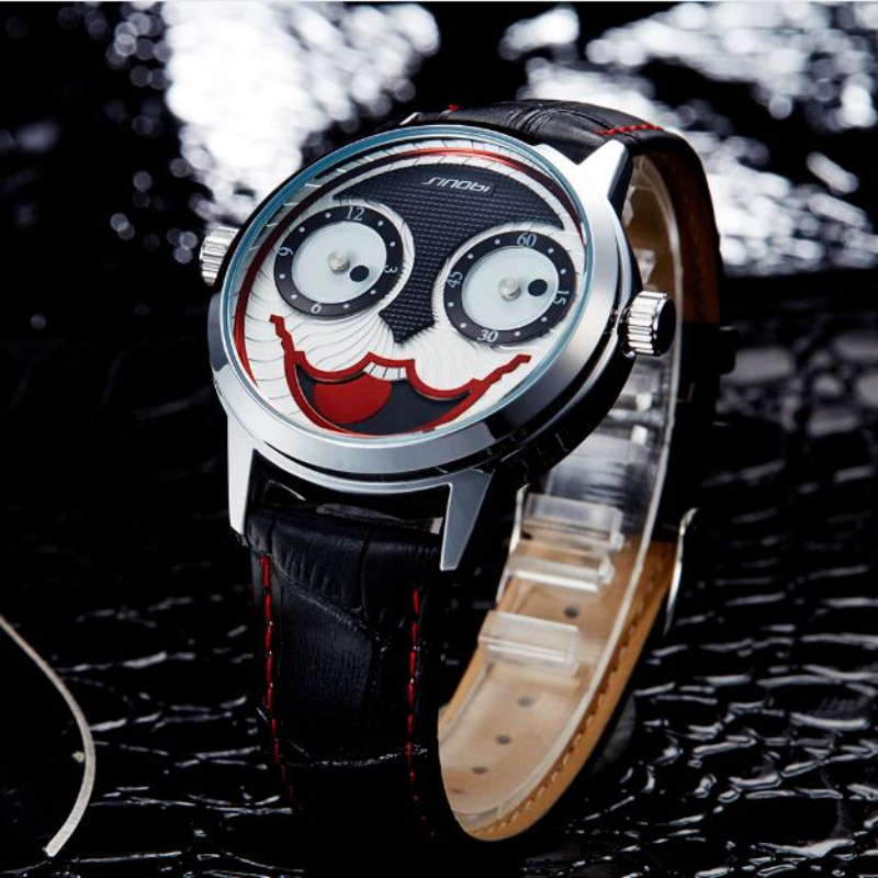 SINOBI Top Brand Unique Clown Wrist Watch Men Watch Fashion Mens Watches Joker Men's Watch Clock saat relogio masculino relojes sinobi original vogue new design wrist watches for men dress office waterproof men watch travel factory directly sale relojes