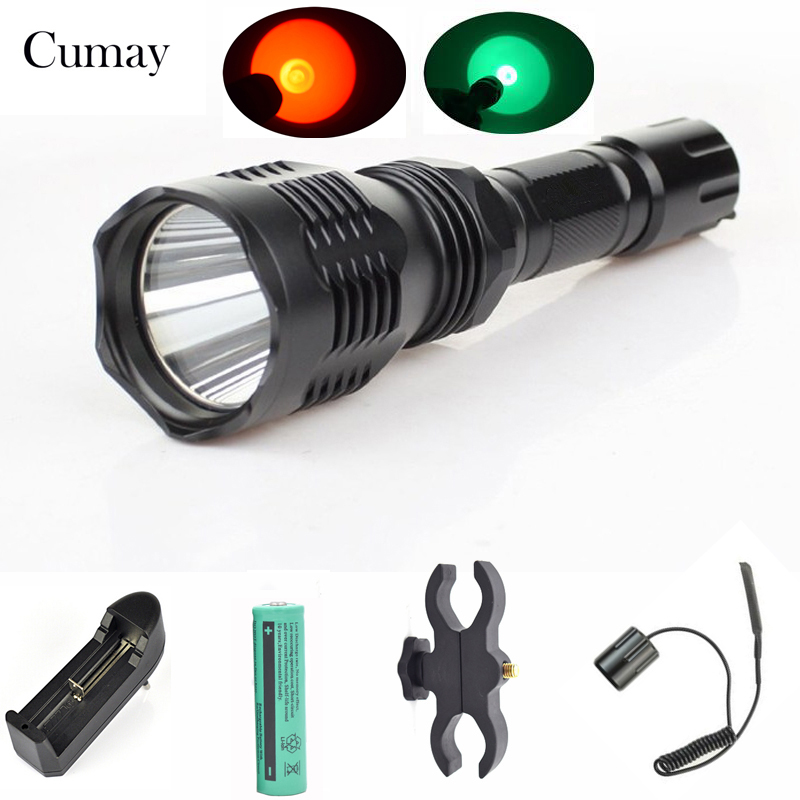 300m Beam Hunting LED Flashlight Flash Light Green Red 1 Mode lampe torche Torch With 25mm Diameter Gun Mount Pressure Switch ...