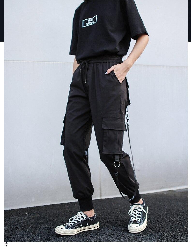 2020 Mujeres Negro Cargo Pantalones De Estilo Militar De Gran Tamano Streetwear Con Muchos Bolsillos Conicos Mujeres Overoles Rock Ribbon Pantalones Pantalones Y Pantalones Capri Aliexpress