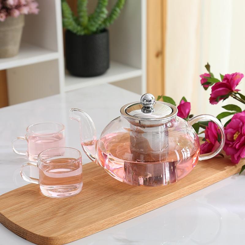 600ML 800ML բորոսիլիկատ ապակի Teapot Tea Չժանգոտվող պողպատից Filte Infuser Կափարիչ Ժամանակակից թեյի զամբյուղով գործիք Kettle Terbal Teaware