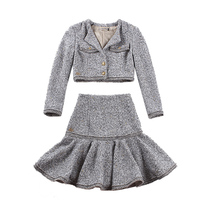 le palais vintage 2018FW Classic Dazzle Tweeds Mermaid Skirt Slim High Rise Ruffles Type and Thicken Short Jacket Two Piece Suit