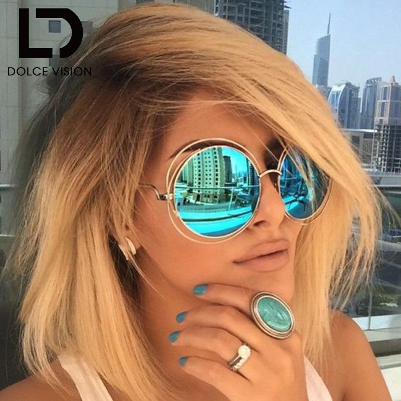 591bd24d9 دولتشي رؤية النساء العلامة التجارية مصمم جولة إطار من السلك النظارات الشمسية  طلاء عاكسة نظارات خمر Oculos Feminino UV400 ظلال
