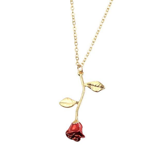 New jewelry creative drop delicate Red Rose Pendant Necklace for girlfriend Valentine's Day gift
