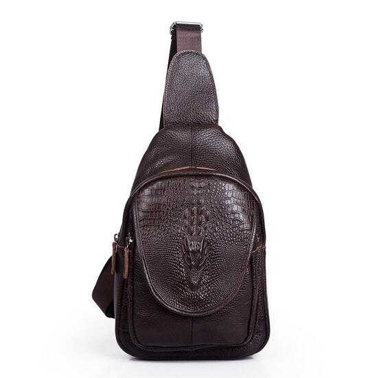 6f71aa99ea6 US $9.99 |Real Genuine Leather Mens Sling Bag Single Shoulder Bag Men  Crocodile Pattern Chest Crossbody Bag Waist Pack-in Travel Bags from  Luggage & ...
