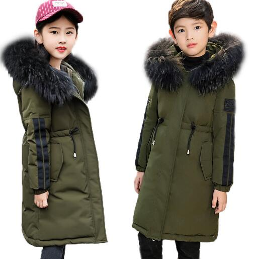 цена на -30 degrees Children Winter Down Jacket Girls Coat Thicken Warm Boys Fur Hooded Outerwear Long Parka Kids Clothing