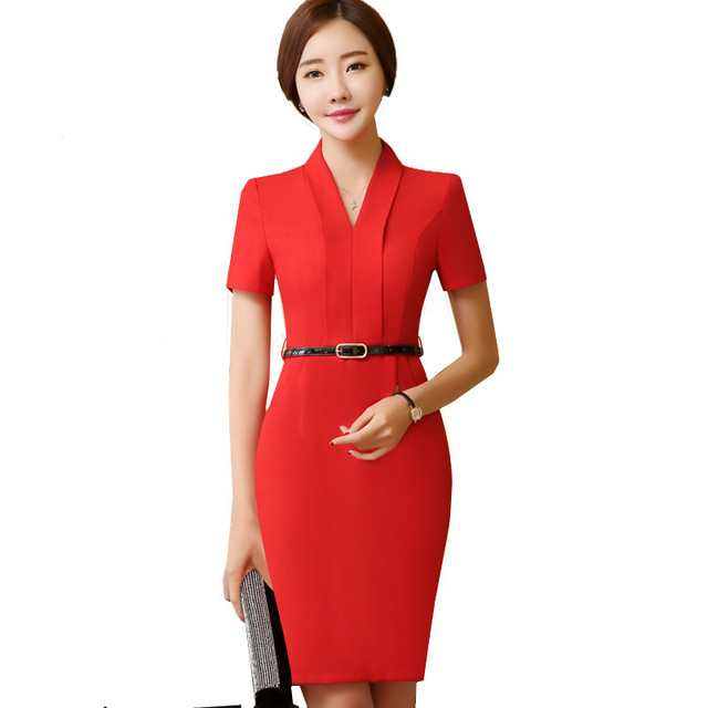 Women Vintage V-neck Office Work Business Dresses Short Sleeve Slim Fit OL  Style Plus Size Party Bodycon Pencil Dress f6ddfbf5c