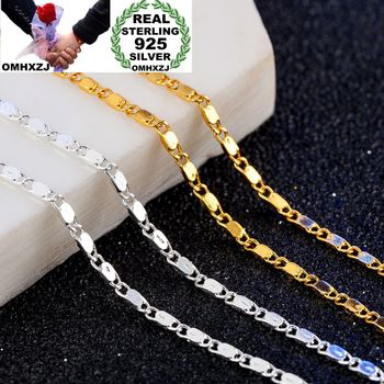 OMHXZJ Wholesale Personality Fashion OL Woman Girl Party Gift 2MM Flat Chain 925 Sterling Silver 18KT Gold Necklace NC177